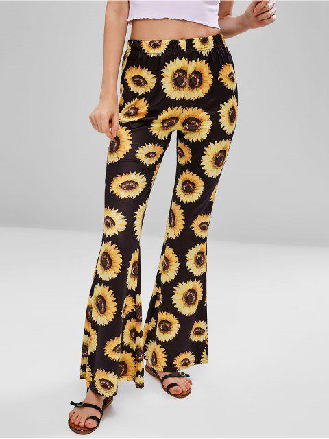 best Sunflower Print Flare Bottom Pants - BLACK S Mobile