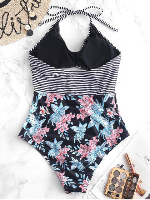 ZAFUL Flower Striped Halter Swimsuit - Negro M Mobile