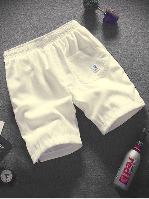 Shorts de cordón con apliques de empalme a rayas - Blanco L Mobile