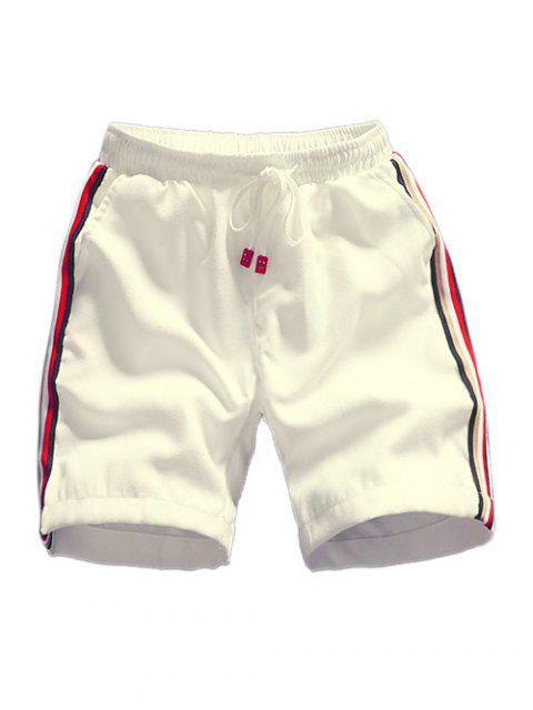 Shorts de cordón con apliques de empalme a rayas - Blanco S Mobile