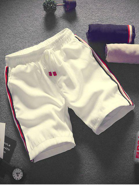 Shorts de cordón con apliques de empalme a rayas - Blanco XS Mobile
