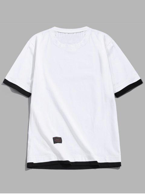 Camiseta de manga corta con paneles de bloques de color de Applique - Blanco M Mobile