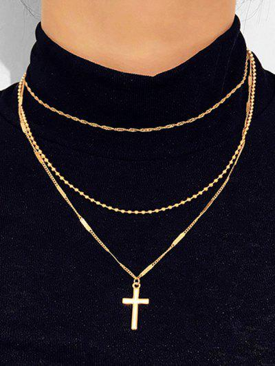 Cross Pendant Layered Necklace - Gold