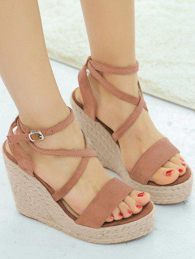 1760efdc7 ... Cross Wedge High Heel Gladiator Sandals - Light Brown Eu 36
