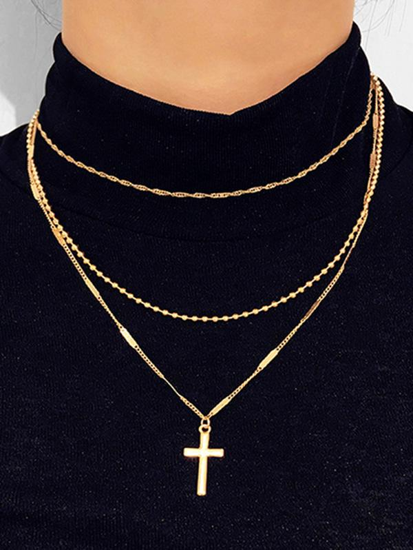 Cross Pendant Layered Necklace, Gold