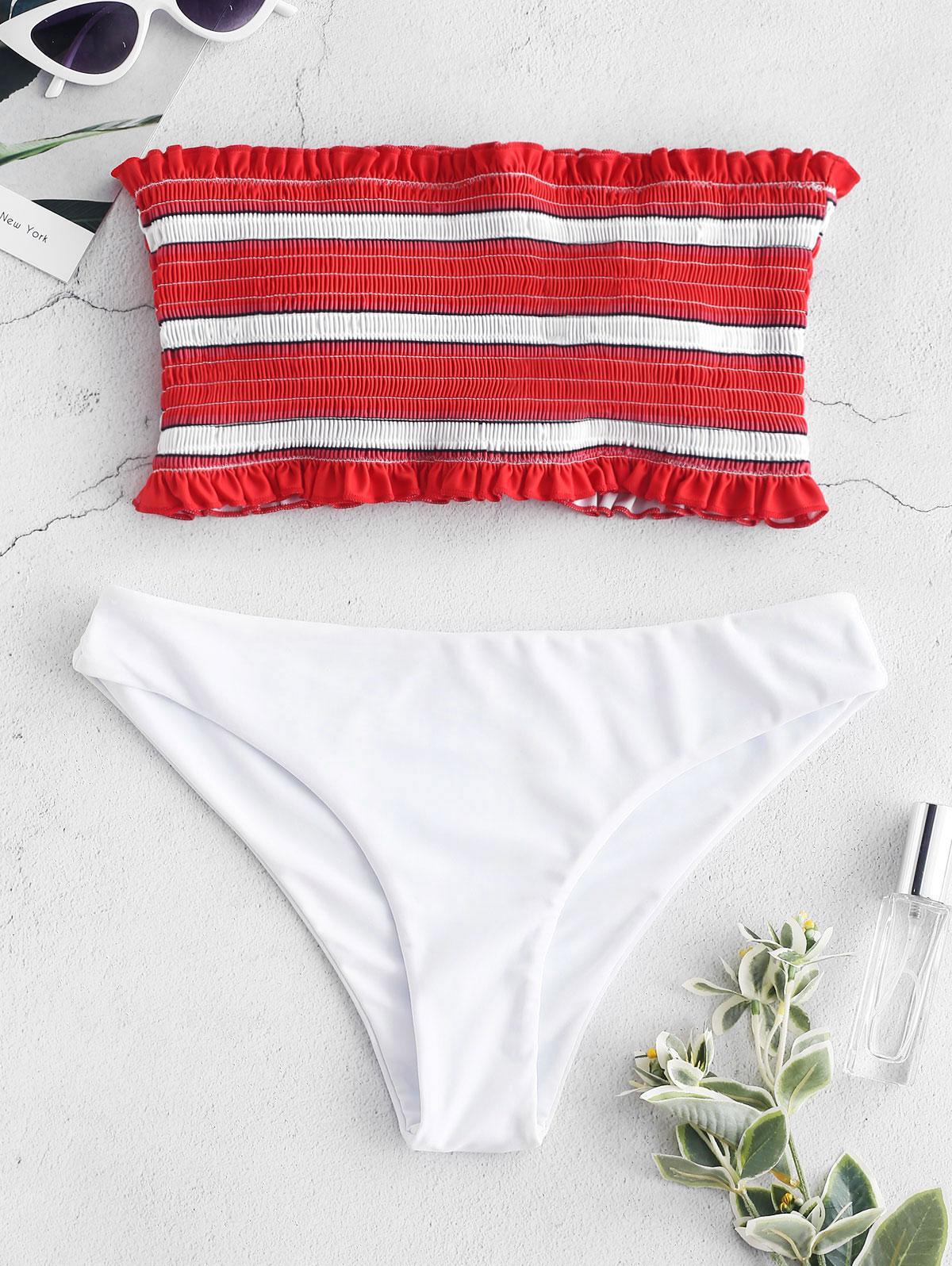 ZAFUL Frilled Stripe Smocked Bikini Set, Red