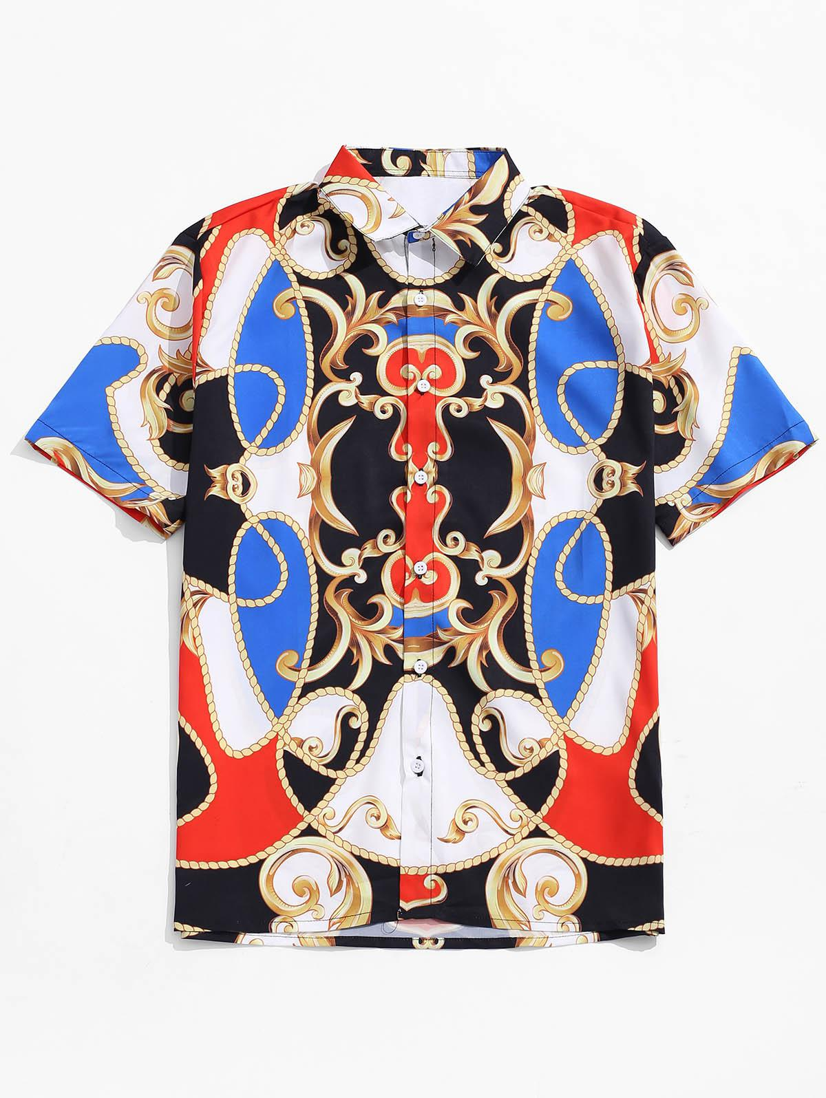 Chinese Opera Mask Print Short Sleeves Shirt, Multi
