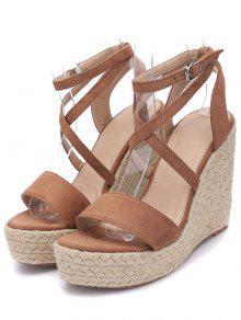 Cross Wedge High Heel Gladiator Sandals