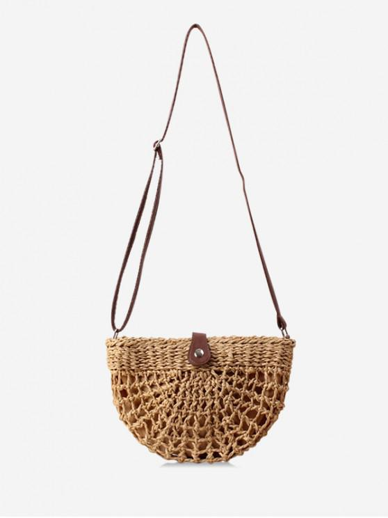 online Semicircle Handmade Hollowed Shoulder Bag - LIGHT BROWN