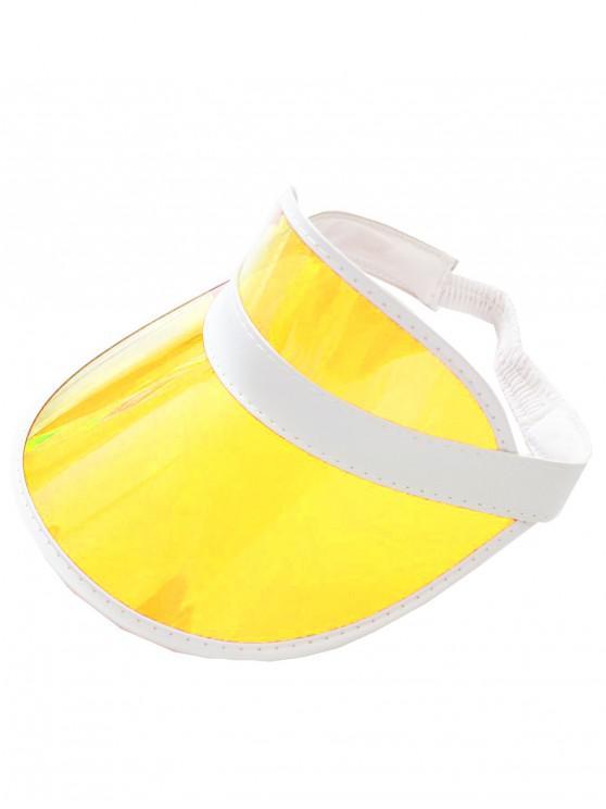women Neon Transparent PVC Visor Cap - YELLOW