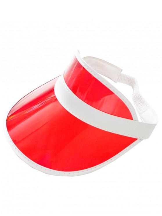 ladies Neon Transparent PVC Visor Cap - RED