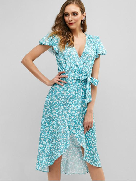 best Flounce Floral Belted Wrap Dress - MEDIUM TURQUOISE M