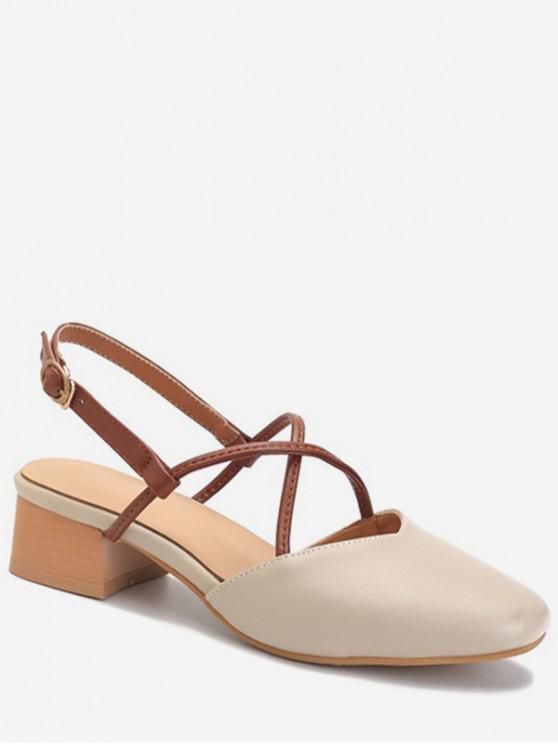 hot Square Toe Thick Heel Sandals - APRICOT EU 34