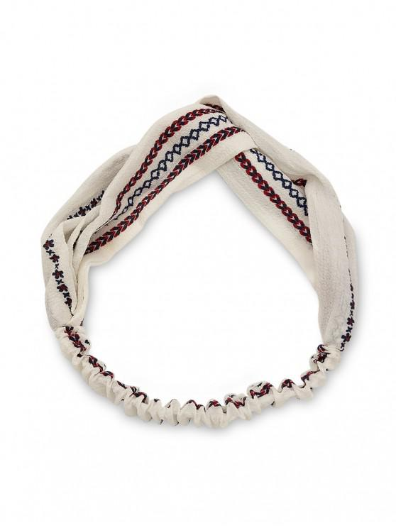 women's Flower Print Knotted Headband - WHITE