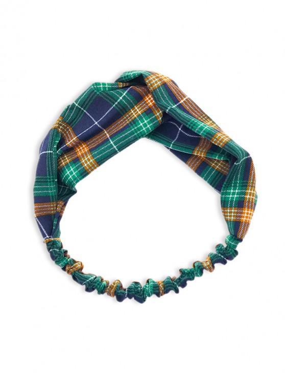 new Plaid Pattern Knotted Elastic Headband - CADETBLUE