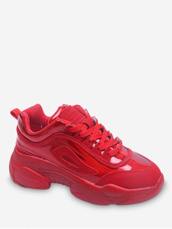 lady Mesh Panel Thick Bottom Sports Shoes - RED EU 40