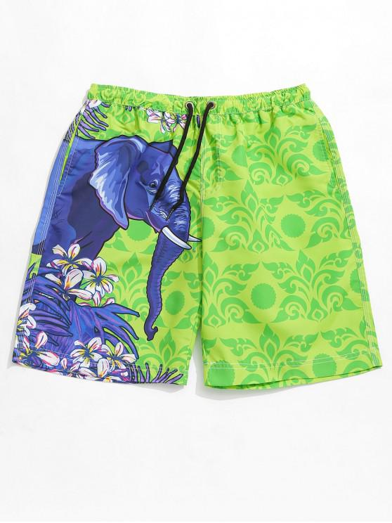 new Floral Elephant Print Casual Beach Shorts - YELLOW GREEN M