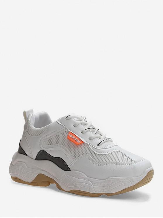 fancy Mesh Trim Design Lace-up Casual Sneakers - WHITE EU 40