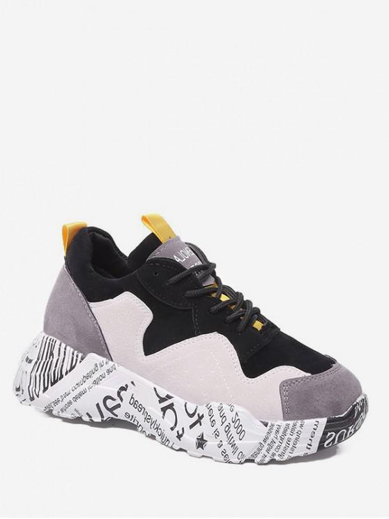 shops Letter Print Lace-up Decoration Sneakers - GRAY CLOUD EU 38