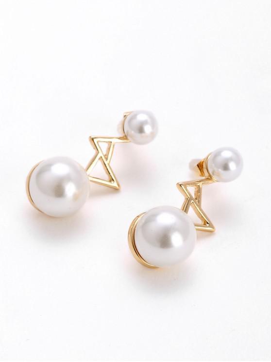 Künstliche Perle -Geometrische Ohrringe - Weiß