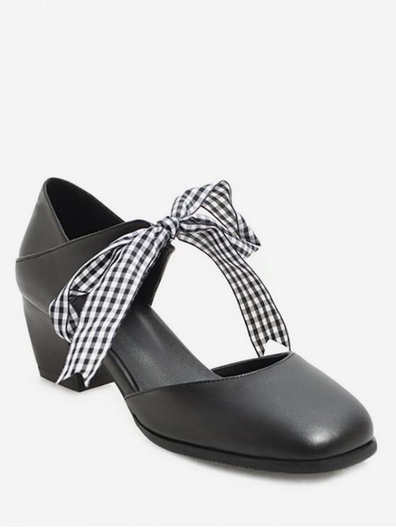 lady Sweet Plaid Bow Chunky Heel Sandals - BLACK EU 37