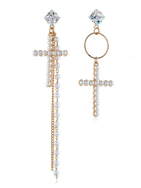 trendy Rhinestone Faux Pearl Circle Cross Earrings - WHITE