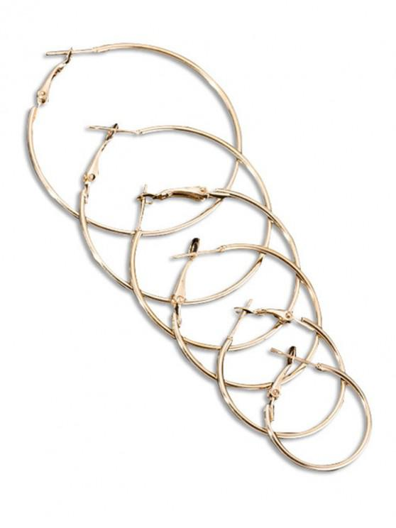 fashion Solid Color Alloy Hoop Earrings Set - GOLD