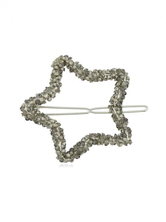 buy Rhinestone Hollow Out Star Shape Hair Grips - GUNMETAL