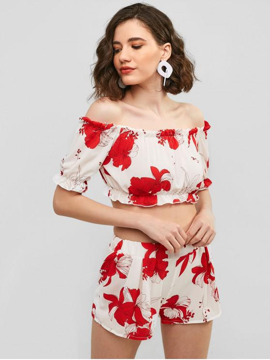 fashion Off Shoulder Floral Top And Shorts Set - WHITE S