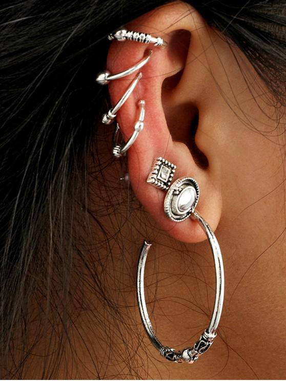 outfits Metal Cuff Stud Earrings Set - SILVER