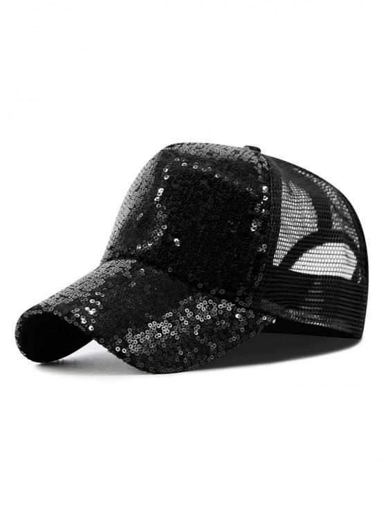 online Sequin Sport Mesh Trucker Hat - BLACK