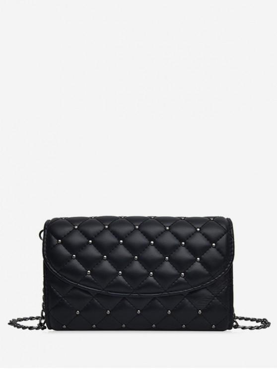 buy Crossbody Solid Grid Pattern Shoulder Bag - BLACK SMALL SIZE