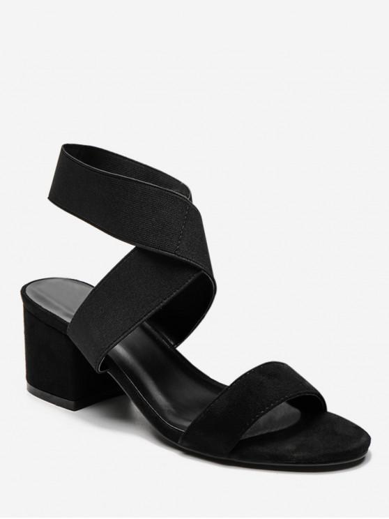 lady Cross Stretch Elastic Chunky Heel Sandals - BLACK EU 37