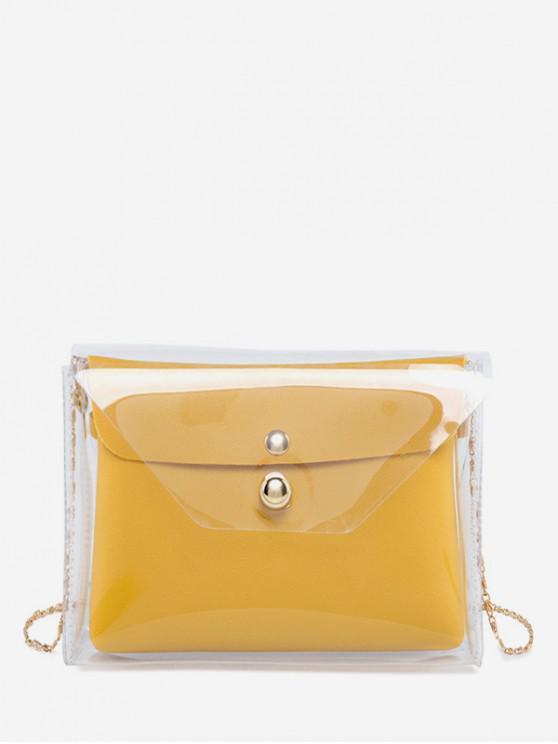 affordable Stylish Transparent Square Chain Shoulder Bag - SUN YELLOW