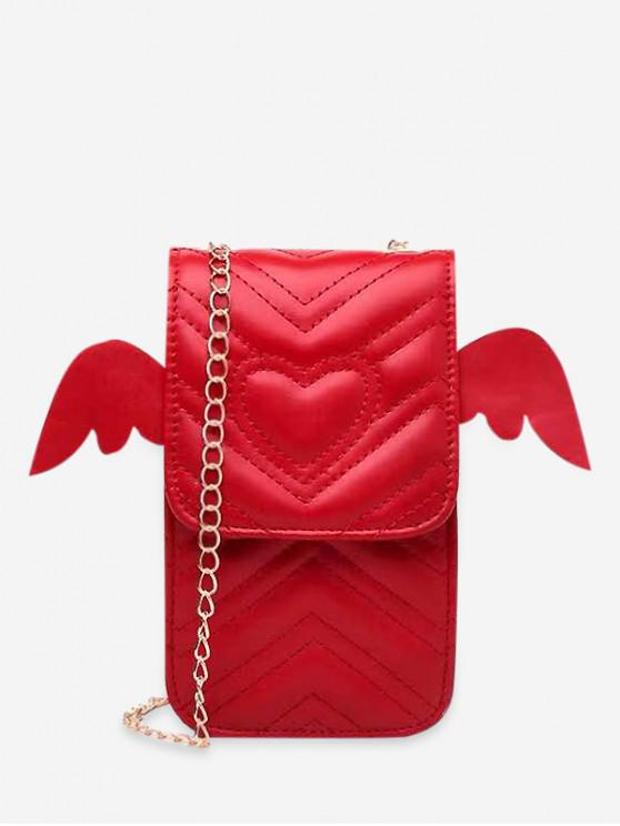 outfit Heart Pattern Wings Design Crossbody Chain Bag - RED