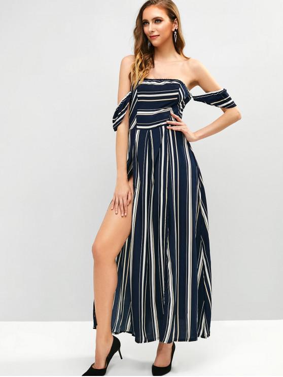 lady Slit Stripes Off Shoulder Maxi Dress - MULTI S