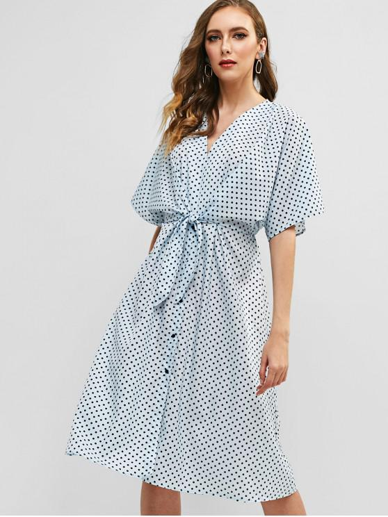 8f4fc3f64788 33% OFF  2019 Polka Dot Batwing Sleeve Belted Dress In SEA BLUE ...
