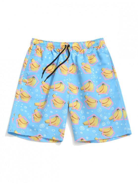 Pantalones cortos con estampado de plátano geométrico - Azul Cristal M