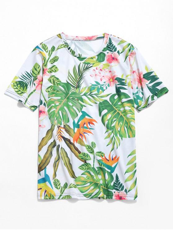 trendy Plant Floral Print Hawaii Beach T-shirt - GREEN ONION 4XL