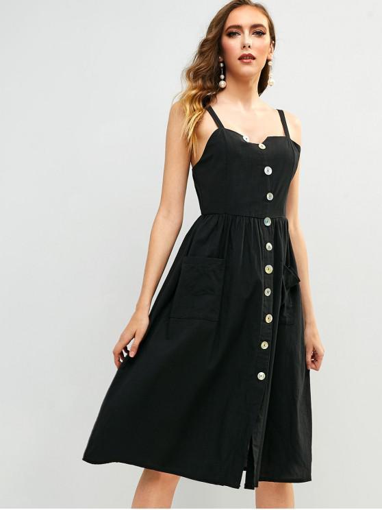 affordable Buttoned Pockets Slit Midi Dress - BLACK L