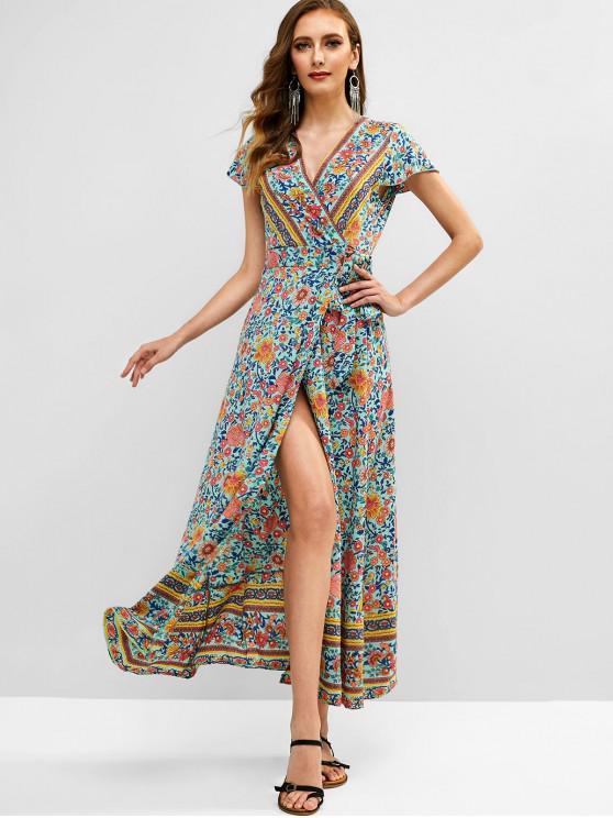 unique Floral Print Maxi Wrap Dress - GREEN L