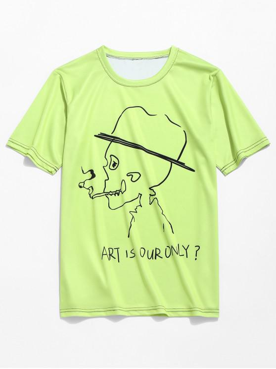 Letras de calavera de fumar imprimir camiseta de neón - Té Verde L