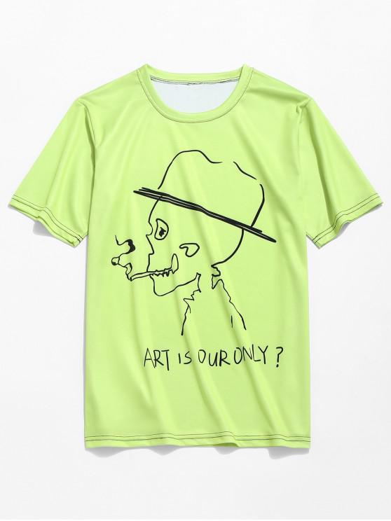 Letras de calavera de fumar imprimir camiseta de neón - Té Verde 3XL