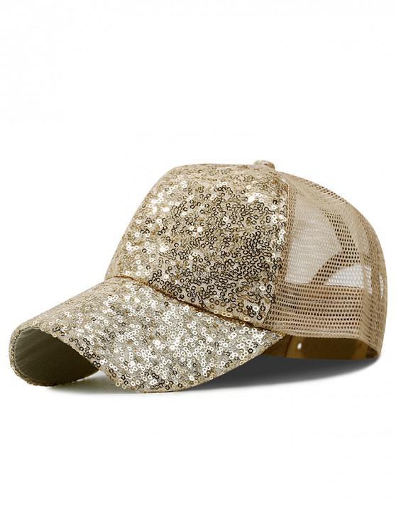 affordable Sequin Sport Mesh Trucker Hat - KHAKI