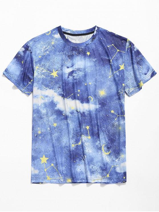 shops Short Sleeves Galaxy Star Moon Print T-shirt - BLUEBERRY BLUE XL