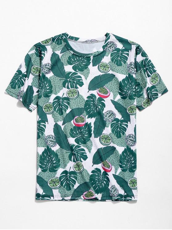 women Tropical Leaves Fruits Print Hawaii Beach T-shirt - MEDIUM SEA GREEN 2XL
