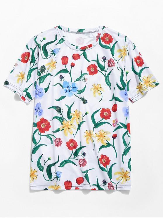 lady Allover Floral Print Hawaii Beach T-shirt - MULTI-A M