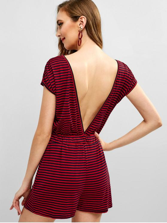 634000b0cab 30% OFF   HOT  2019 Open Back Stripes Romper In RED