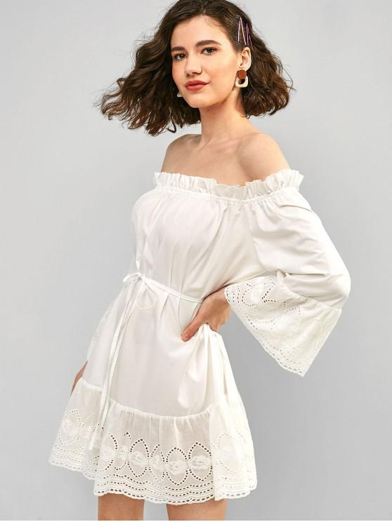buy ZAFUL Frilled Off Shoulder Broderie Anglaise Dress - MILK WHITE L