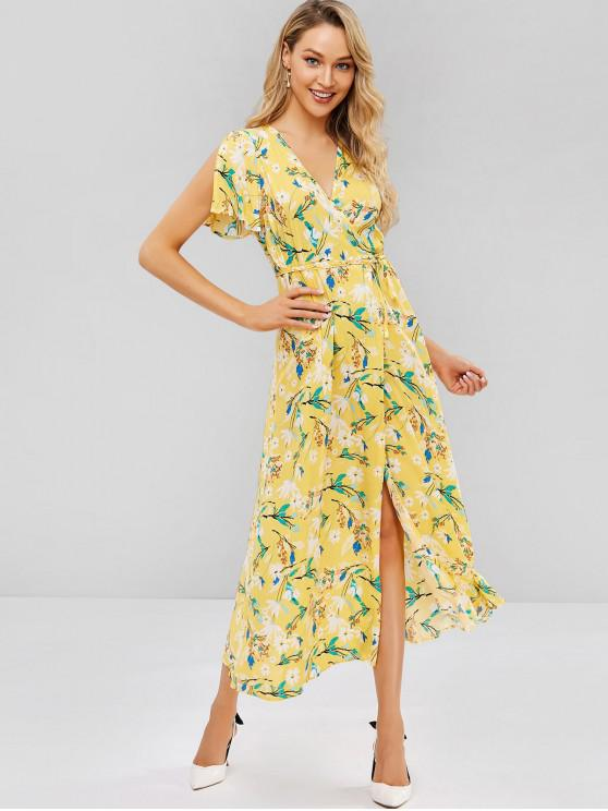 a7475423c68a6e 27% OFF] 2019 Split Sleeve Floral Wrap Maxi Dress In YELLOW | ZAFUL